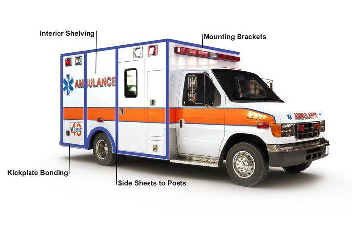 Emergency vehicle manufacturing plexus adhesive
